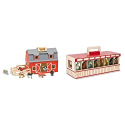 Portable wooden barn opens wide for easy play access and closes up to take with you Take-along wooden stable with eight play horses