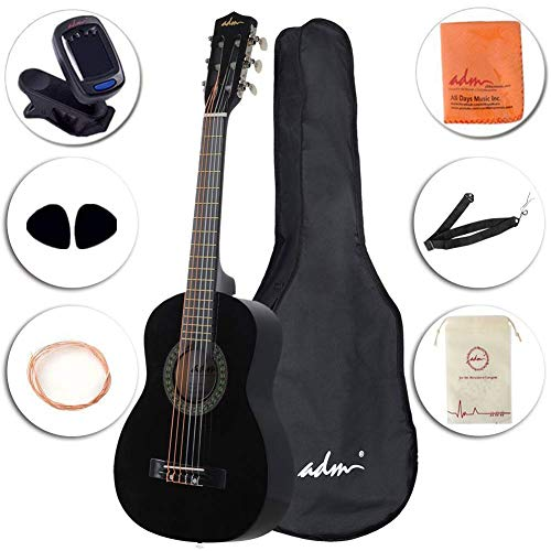 ADM Beginner Classical Guitar 30 Inch Nylon Strings Wooden Guitar Bundle Kit with Carrying Bag & Accessories, Black