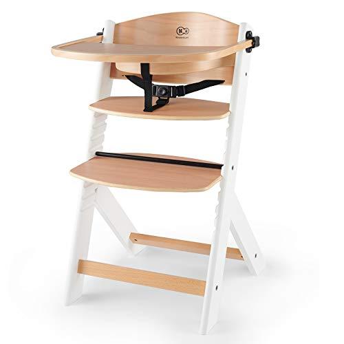 Kinderkraft Kinderhochstuhl aus Holz ENOCK 3 in 1, Niedriger Stuhl, Babystuhl, Abnehmbare Schutzbügel und Gurt, Rückenlehnenverstellung, ab 6 Monaten bis 10 Jahre, Weiß
