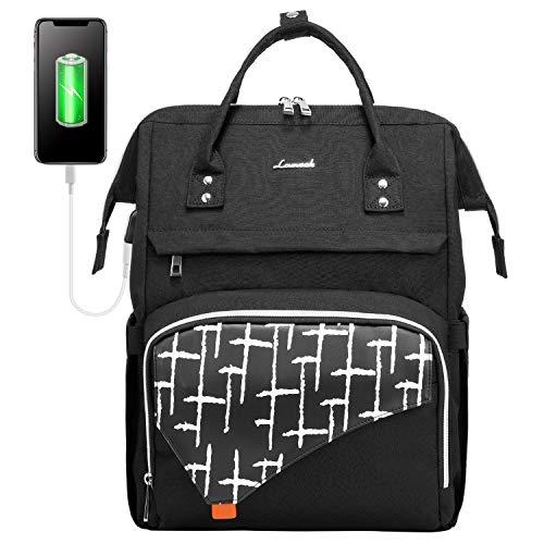 LOVEVOOK Laptop Rucksack 15,6 Zoll, stylischer Rucksack Damen wasserdichte, Schulrucksack mit Laptopfach und Anti-Diebstahl Tasche, für Uni Schule Reisen Arbeit, Schwarz