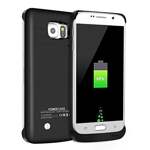 Carcasa para batería Galaxy S6, batería Externa de 4200 mAh, batería de Banco de energía de Reserva, Cargador de energía portátil para Samsung Galaxy S6 Negro