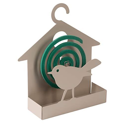 Baroni Home Porta Zampirone in Metallo Casa Uccellino Tortora. Portazampirone da Interno o da Esterno 15x5x19 cm