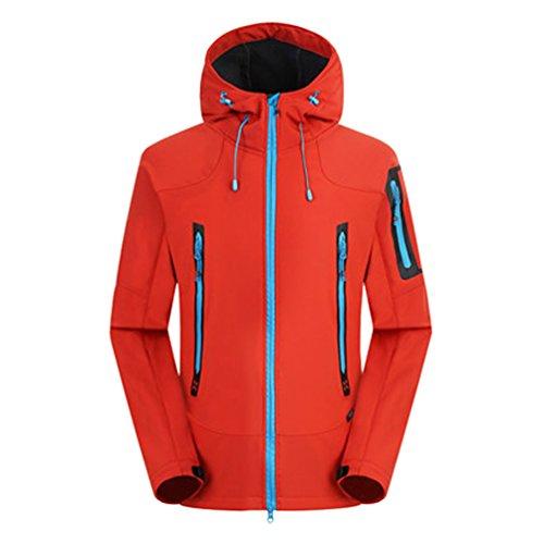 ZKOO Uomo Fleece Softshell Giacca con Cappotto Impermeabile Funzionale Giacca Trekking Montagna Outdoor Giubbotto Autunno e Inverno Rosso