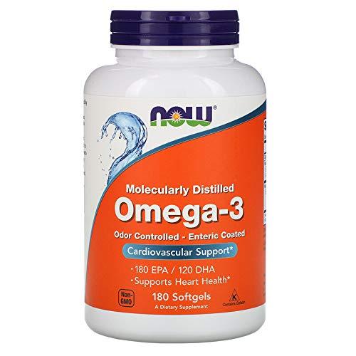 NOW Omega-3 1000mg Enteric Coated (18/12) 180 Gel, 180 g