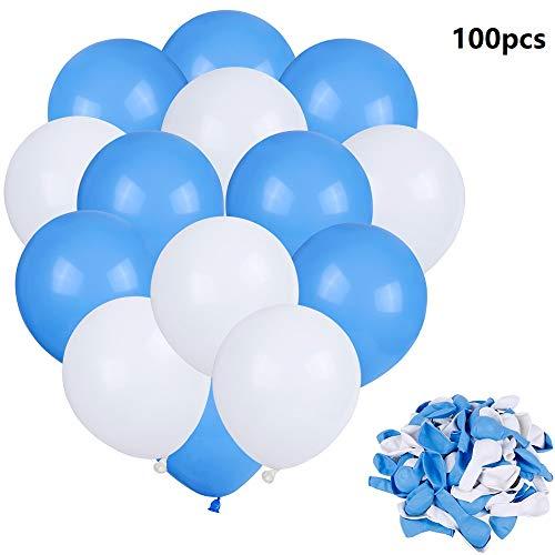 Faburo 100x Luftballons Blau Weiß Luftballon Blau für Geburtstag Baby Shower Hochzeit Halloween Weihnachten Deko (blau und weiß)