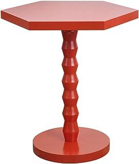 Table Rouge Petite Table Basse Élégante Table Hexagonale Convient pour Côté Canapé Coin Salon Table Salon avec Balcon (Cou...