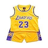 Demino James #23 Laker Jersey, camisetas de niños, pantalones cortos de baloncesto, ropa de baloncesto para hombre, conjunto deportivo para hombre (amarillo, XXL (155-165 cm)