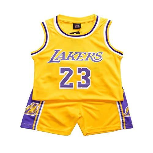 Demino James #23 Laker Jersey, camisetas de niños, pantalones cortos de baloncesto, ropa de baloncesto para hombre, conjunto deportivo para hombre (amarillo, S (120-130 cm)