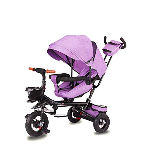 NUBAO Triciclo Evolutivo Toral Trikes Trikes de los niños, Plegable 1 año de Edad Asiento Giratorio reclinable reclinador niños 3 Ruedas Caja Fuerte toldo Empuje (Color: púrpura)