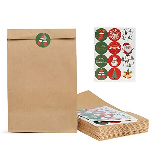 Kesote Set di 48 Sacchetti di Carta Kraft + 48 Adesivi di Tenuta Sacchetti di Carta per Alimenti, Regalo di Natale, 27 x 15 x 9 CM