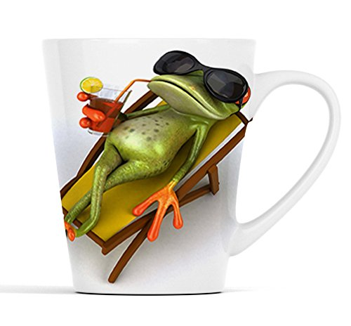 3D Frosch mit Cocktail im Liegestuhl |Latte Macchiato Becher Kaffeebecher mit Fotodruck |015