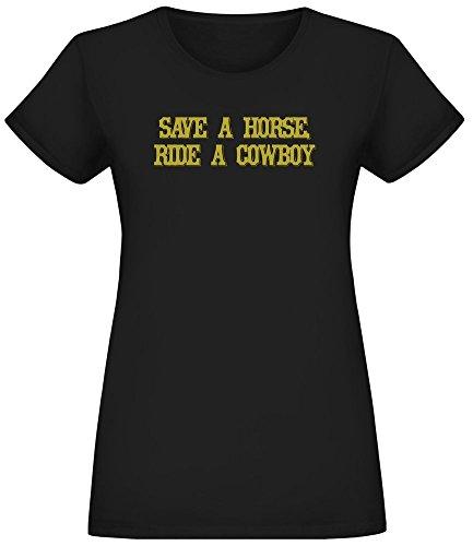 Salva un Caballo, Monta un Vaquero - Save A Horse Ride A Cowboy T-Shirt Top Short Sleeve Jersey For Women 100% Soft Cotton Womens Clothing X-Large