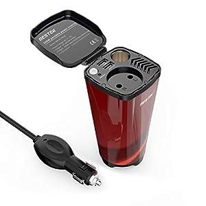 BESTEK Inversor De Corriente 200W 12V A 220V para Coche Cargador De Energía con 2 USB Puertos De 4.8A Y 1 Toma De Encendedor Mechero De Coche y 1 AC Enchufe, Copa De Café