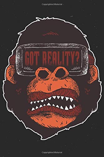 VIRTUAL REALITY GORILLA NOTEBOOK: 6x9 checkered funny notebook for virtual reality, augmented reality lovers