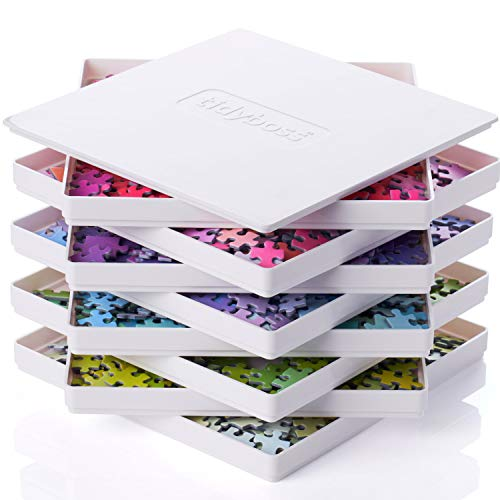 Tidyboss 8 Puzzle Sorting Trays with Lid - Portable Jigsaw Puzzle Accessories White Background Makes Pieces Stand Out to Better Sort Patterns, Shapes and Colors | for Puzzles Up to 1500 Pieces