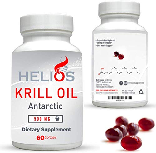 Krill Oil Supplement - Potent Cold Water Antarctic Krill Oil with Natural Red Astaxanthin - High Phospholipids - Helios Omega 3's DHA and EPA - Sustainable - USA - 500mg SoftGels