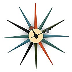 LeisureMod Maxi Modern Design Metal Colorful Star Silent Non-Ticking Wall Clock (Multi)