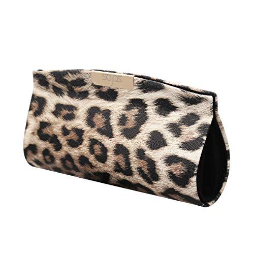 SOJOS Sunglasses Goggles Case Hard Shell Eyewear Glasses Case Leopard Print PU Bag SA505