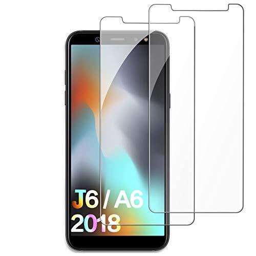 FUMUM Panzerglas Schutzfolie für Samsung Galaxy A6 2018/Samsung Galaxy J6 2018 5,6 Zoll, Premium 5 mal Verstärkung Anti-Kratzen Nano-Anti-Fingerabdruck HD Glasfolie[Keine Bläschen]-2 Stück