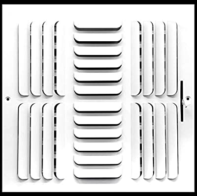 "10""w x 10""h 3-Way Fixed Curved Blade AIR Supply Diffuser - Vent Duct Cover - Grille Register - Sidewall or Ceiling - High Airflow - White"