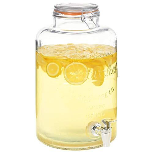 Tidyard Dispensador de agua Dispensador de bebidas XXL con grifo vidrio transparente 8 L