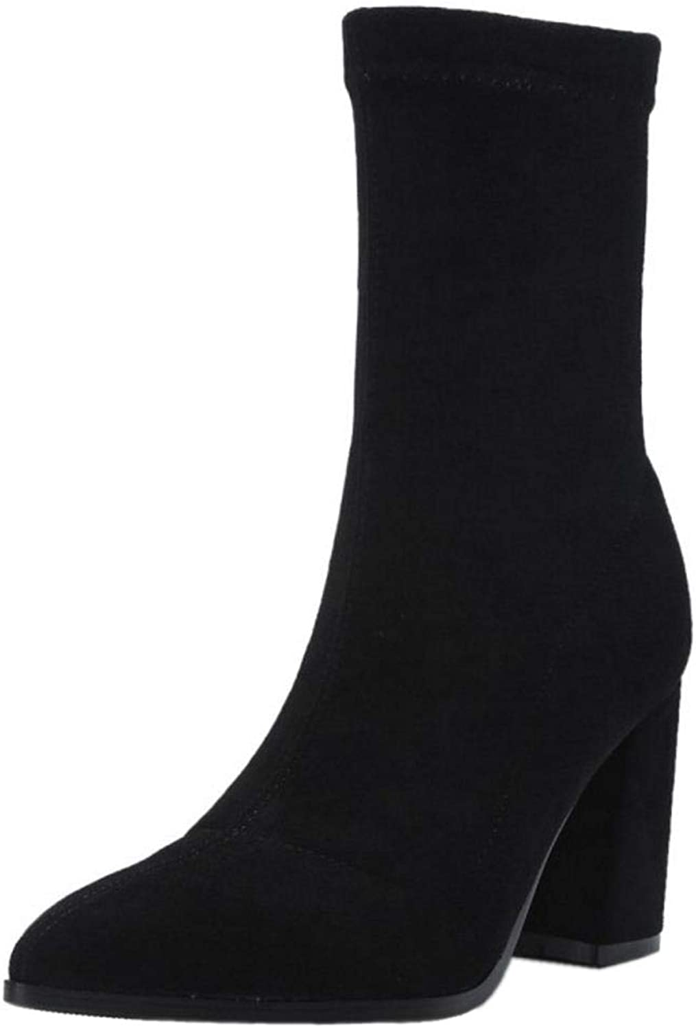 TAOFFEN Women Fashion Block Heel Ankle Boots Pull On