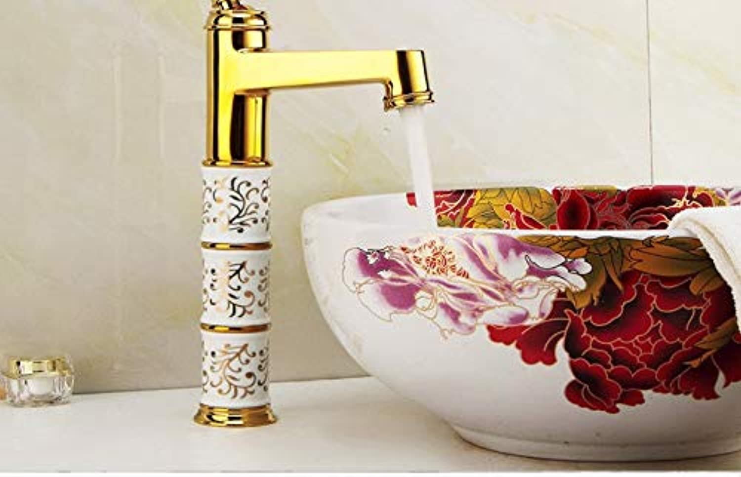 Ceramic Washbasin Mixer Hot and Cold Faucet gold-Plated Basin Faucet Hot and Cold