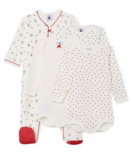 Petit Bateau Baby-Mädchen DORS BIEN + 3 Bodies_5043700 Bekleidungsset, Mehrfarbig (Variante 1 00), 80 (Herstellergröße: 12M/74cm)