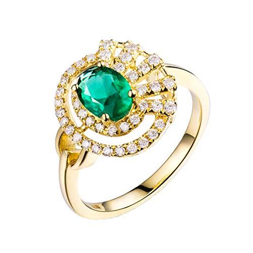 AnazoZ Anillo de Mujer con Esmeralda,Anillos Oro Amarillo 18 Kilates Mujer Oro Verde Flor Oval Esmeralda Verde 0.69ct Diamante 0.31ct Talla 12