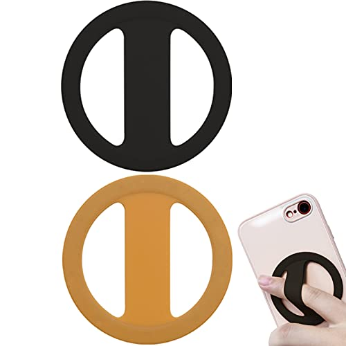 Yingmore Phone Ring Holder, Phone Grip Elastic Cell Phone Ultra Thin Strap Stand Silicone Mobile Phone Finger Loop for Hand, Compatible with iPhone, Samsung, Android Smartphones, 2pcs Black/Orange