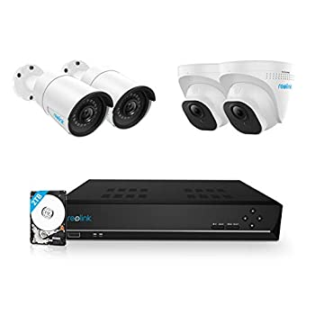 REOLINK 8CH 5MP PoE Home Security Camera System 4pcs Wired 5MP Outdoor PoE IP Cameras 8MP/4K 8-Channel NVR with 2TB HDD for 24/7 Recording RLK8-520B2D2