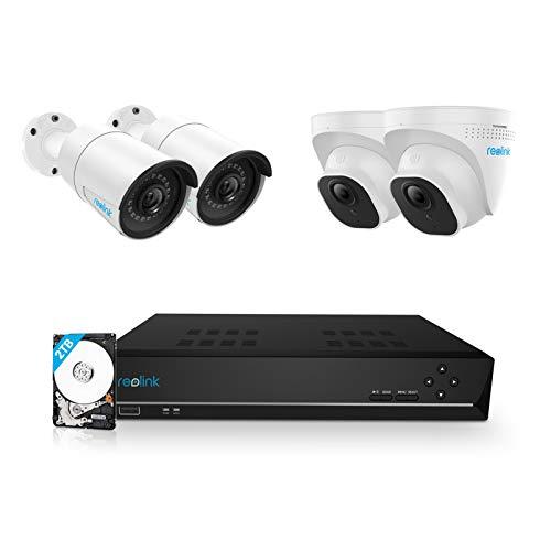 Reolink 5MP Überwachungskamera Aussen Set, 8CH Videoüberwachung mit 4X 5MP PoE IP Kamera und 4K 2TB HDD NVR für 24/7 Aufnahme Innen Outdoor, IP66, 30 Meter IR Nachtsicht mit Audio, RLK8-520B2D2-5MP