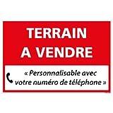 Panneau Immobilier Personnalisable Terrain à Vendre - Rouge - Plastique Rigide AKILUX 3,5mm - Dimensions 600x400 mm - Protection Anti-UV