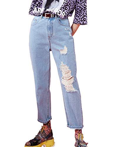Elf zak dames jeansbroek met scheuren High Waist Vintage Ripped Straight Leg Mom Fit Jeans