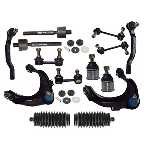 16 Pc Rear & Front Suspension Kit Tie Rod Linkages Upper Control Arms with Ball Joints Sway Bars Upper Shock Mount Bushing Bellow Boots