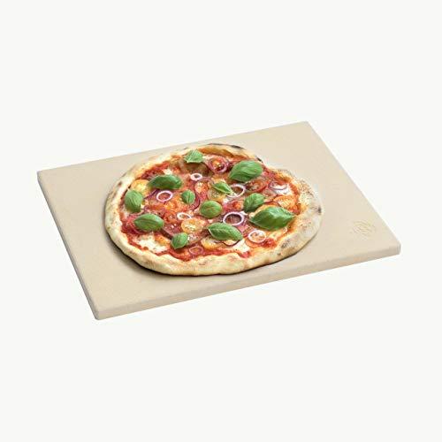 BURNHARD Piedra para Pizza Rectangular 45 x 34 x 1,5 cm Adecuado para Horno y Parrilla, Hecho de cordierit, preparación de Pan, Tarta flambeada y Pizza casera, Asar a la Piedra, Pan de ladrillo
