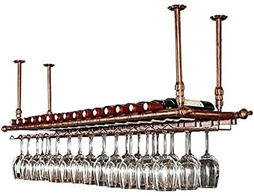 SBTXHJWCGLD Estante para vinos Estantes para Vino de Techo, Bar, Restaurante, Colgante, Estante para Copas de Vino, Porta Botellas de Vino Retro Estantes para Copas de Vino Estante de Techo de