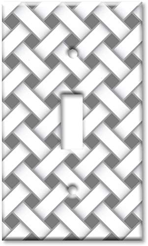 Interruptor de luz Placa de cubierta de luz nocturna 1 Placa de pared de palanca de banda - Rayas cruzadas grises y blancas