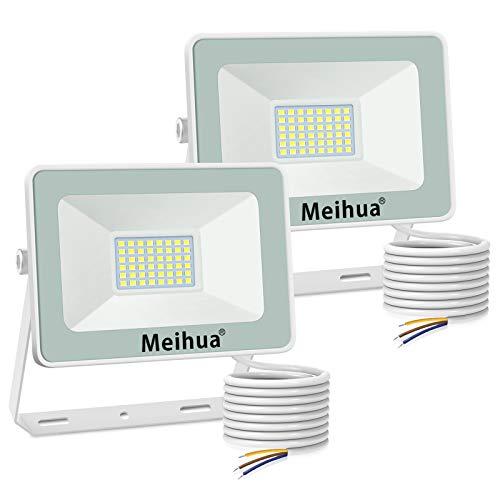 MEIHUA 2 Pezzi Faretto a LED per esterno 35W, super luminoso, impermeabile IP66, bianco freddo 6500K, resistente per giardino, cancello, parcheggio, balcone