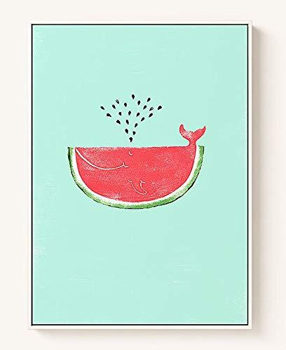 LKJHGU Kein Rahmen Kreative Frucht Abstraktes Muster Wassermelonensamen Gemälde Raum Wohnkultur Wohnzimmer Küche Poster Wandkunst Leinwand Malerei 50 * 75cm B.