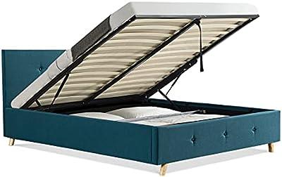 IDMarket - Lit Coffre Double scandinave LULEA 160x200cm Tissu Bleu Canard