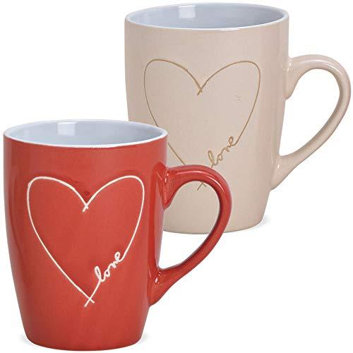 matches21 Taza de café con diseño de corazón, de cerámica, estilo rústico, beige o rojo, 1 unidad, 8 x 11 cm, 280 ml