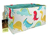 HUNRUNG Rectangle Storage Basket Cute Canvas Organizer Bin for Pet/Kids Toys, Books, Clothes Perfect for Kid Rooms/Playroom/Shelves (Dinosaur)