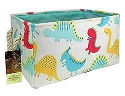 3. HUNRUNG Rectangle Canvas Dinosaur Storage Organizer