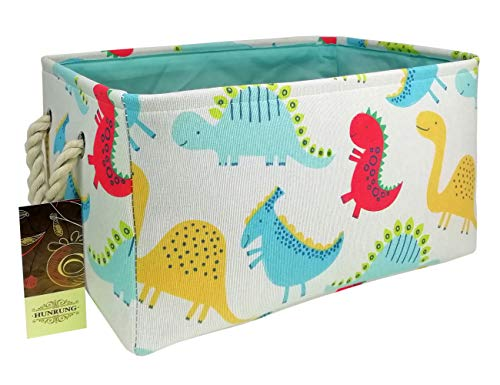 HUNRUNG Rectangle Storage Basket Cute Canvas Organizer Bin for Pet/Children Toys, Books, Clothes Perfect for Rooms/Playroom/Shelves (Dinosaur)