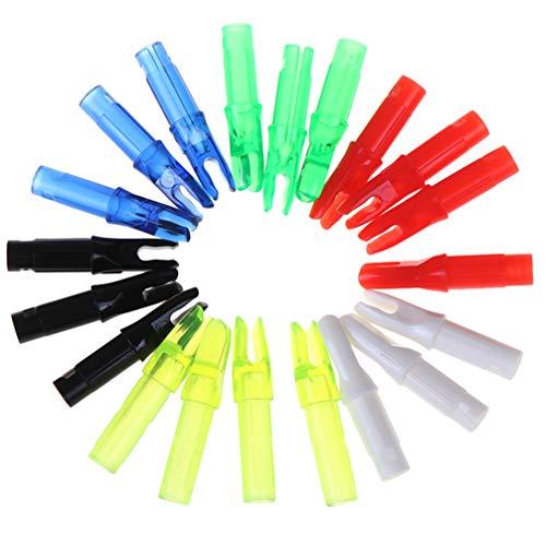 CLISPEED 20Pcs Tiro con Arco Flechas Culatines Cola de Inserción de Plástico para Caza Tiro Al Blanco 6. 2 Mm (Color Mezclado)