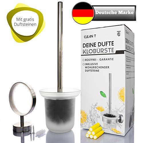 Brauriese WC-Bürste aus Edelstahl - hygienische Toilettenbürste mit abschraubbarem Bürstenkopf - Edle Klobürste + Gratis Zitronenduft Sticks