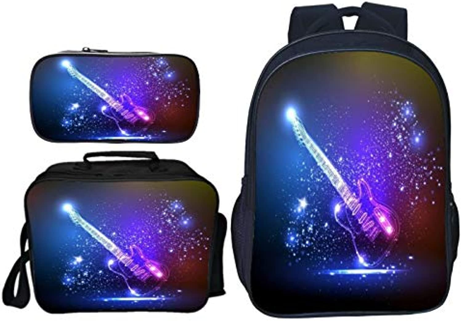 Guitar Anime 3D Printed School Bag Set Cute Kids Backpack and Insulted Lunch Box Pen Case Multifunction 3 in 1