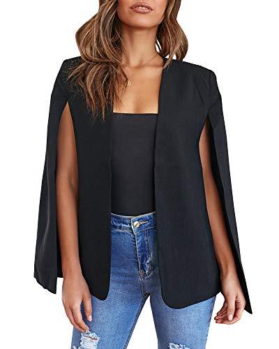 GAMISOTE Womens Cape Blazer Split Sleeve Open Front Casual Jacket Coat Workwear Black