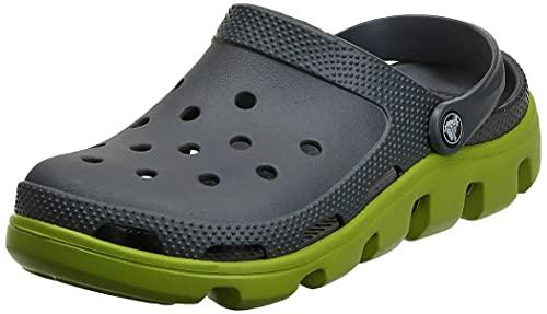 Crocs Duet Sport Clog - Zuecos de material sintético unisex, color Gris (Graphite/Volt Green), 39 EU